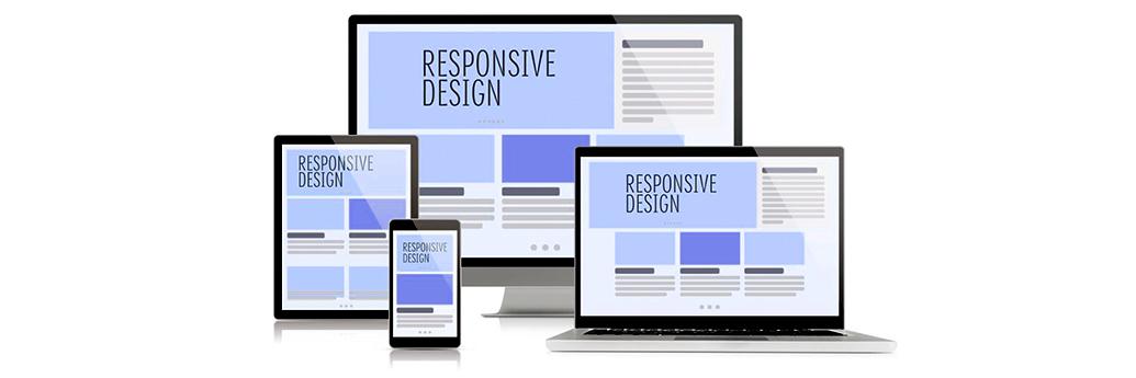 Exemplificare design responsive pe desktop, tabletă și mobil