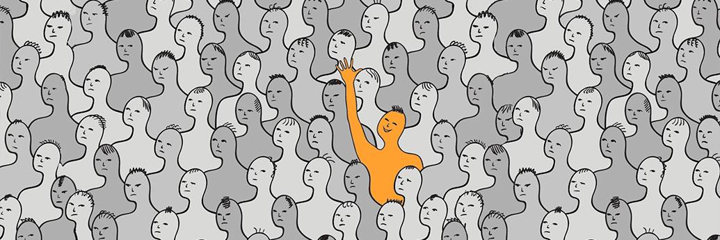 Om care salută din mulțime
