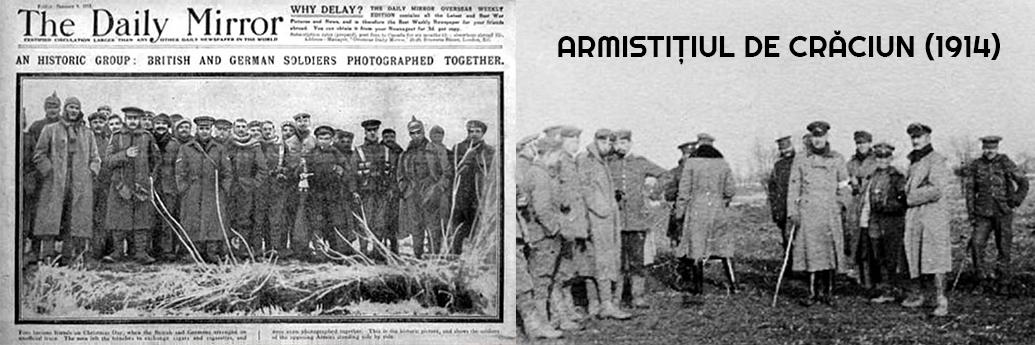 Fotografie din ziar cu armistițiul de crăciun din 1914