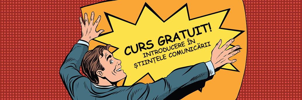 Afiș care anunță cursul online gratuit de introducere în științele comunicării