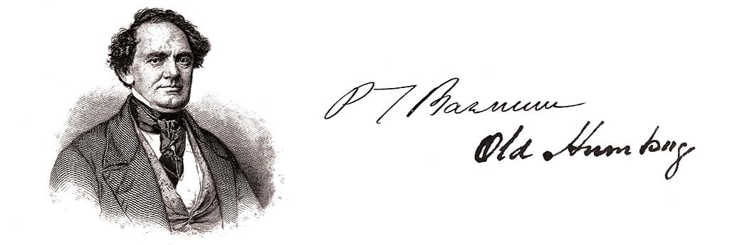 Portret și semnătură P.T. Barnum
